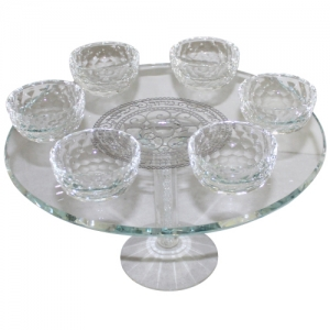 Crystal passover plate on stem 20 cm