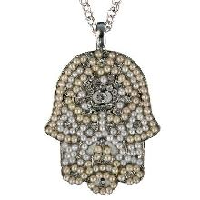 Crystals+ Beads with Chain Necklace- big white hamsa