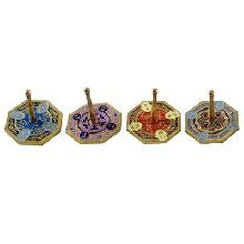 Multicolored metal dreidel 4 cm