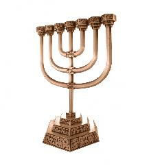 Menorah from Cooper with the image of Jerusalem 28 cm