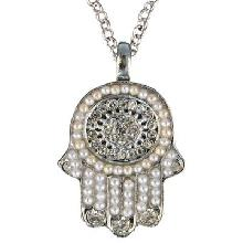 Crystals+ Beads with Chain Necklace- Hamsa silver