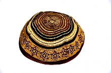 Brown Kippah of 20 cm with an embroidered shield of David