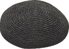Black knitted Kippah of 19 cm