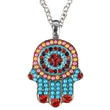 Crystals+ Beads with Chain Necklace- Hamsa multicolor