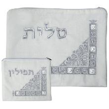 Set for Talita and tefillin embroidery white 36 * 29 cm