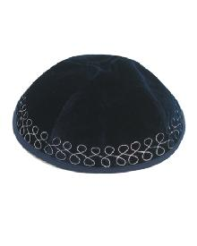 Velvet Kippah of blue with embroidery 20 cm