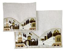 Linen kit for Talita and tefillin decorated with original embroidery Jerusalem 29 * 36 cm