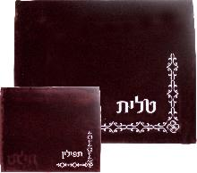 Maroon velvet kit for Talita and tefillin decorated with original embroidery 36 * 29 cm