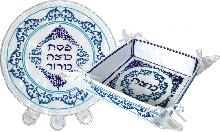 Set of passover-stand and cover for matzah blue shades