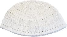 White knitted Kippah of 24 cm