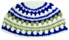 Knitted Kippah combined brown gray and blue