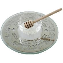 Glassware for honey with a crystal saucer and a wooden stick 19 cm