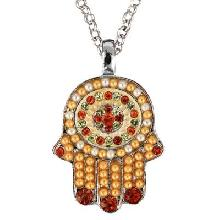 Crystals+ Beads with Chain Necklace- Hamsa gold