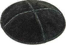 Black leather Kippah of 16 cm