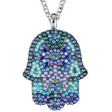 Crystals+ Beads with Chain Necklace- big blue hamsa
