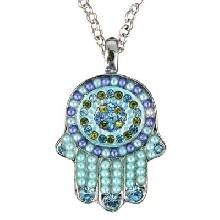 Crystals+ Beads with Chain Necklace- Hamsa turquoise