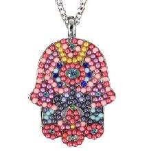 Crystals+ Beads with Chain Necklace- big multicolor hamsa