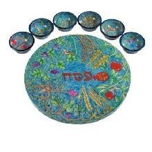 "Seder plate and six small bowls Hand painting on wood  12.6""*2"""