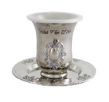 Nickel Kiddush glass 9 cm - decorated with a