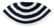 Knitted Kippah combined white and blue 21 cm